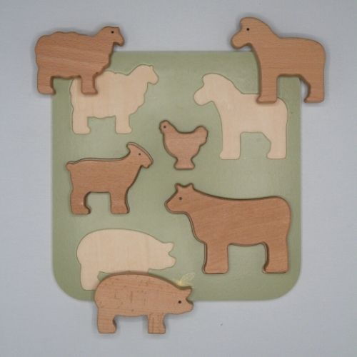 puzzel boerderijdieren op van boven grijze achtergrond