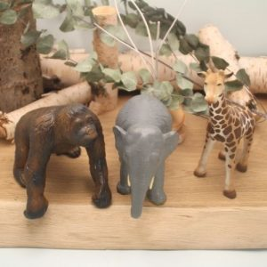 wilde dieren op houten plank