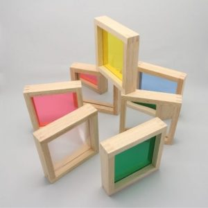 Sensorische vierkante blokken met grijze achtergrond